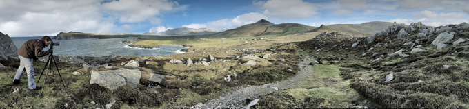 Panorama picture coast side of Dingle Ring west of Kerry Ireland
